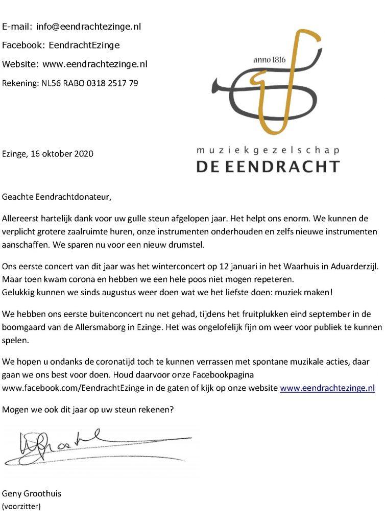 voorbeeld donateursbrief